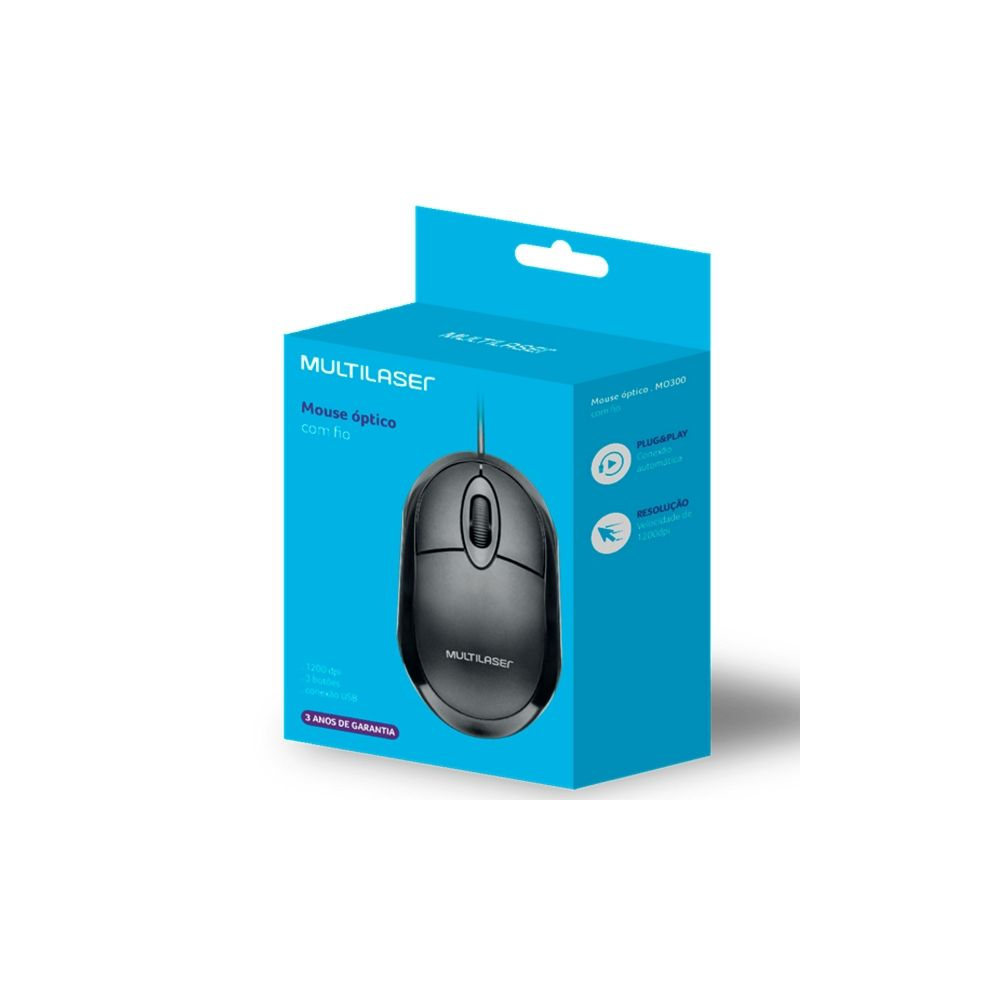 Mouse Classic Box Óptico Full Preto USB - Multilaser